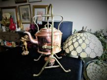 ANTIQUE MUSTER GERMAN COPPER SPIRIT KETTLE & ORNATE BRASS CRADLE STAND
